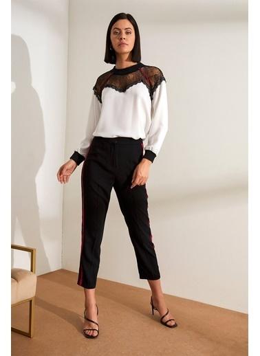 Setre Siyah-Fuşya Kontrast Şerit Detaylı Kumaş Pantolon Siyah